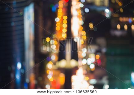 Abstract blurred bokeh lights city downtown road busy hour
