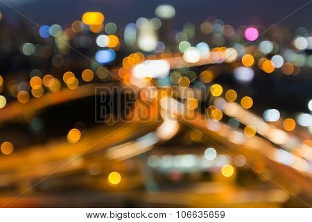 Aerial view blurred city highway intersection at night