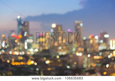 Abstract blurred abstract background aerial view city downtown night view