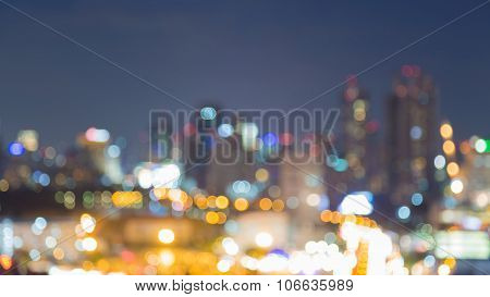 Blurred abstract background aerial view, city light at night