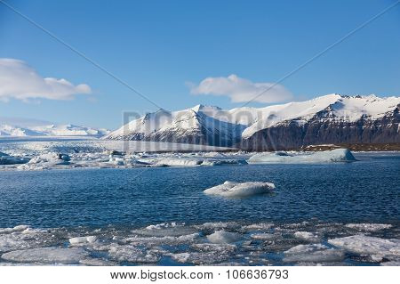 Jokulsarlon lake with clear blue sky