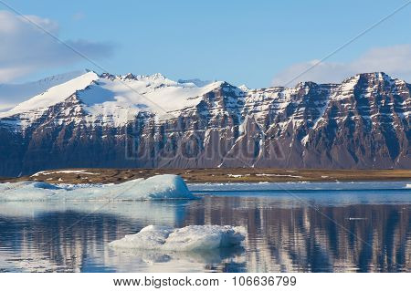 Mountain in Jokulsarlon lake with clear blue sky, Iceland landscape