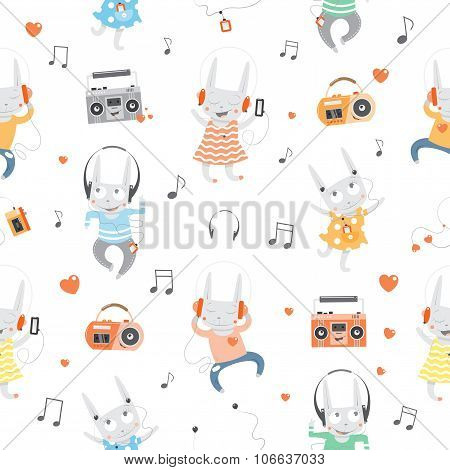 Pattern With Rabbits.