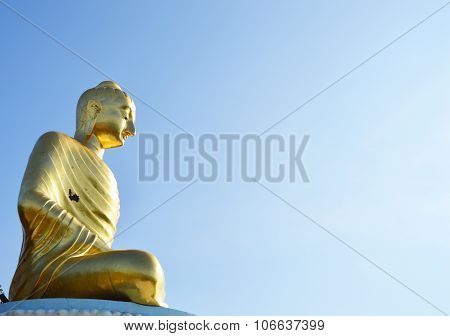 golden Buddha in the Buddhist temple