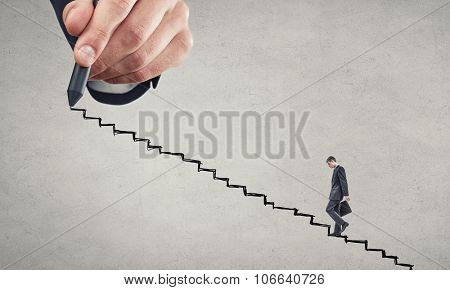 Businessman climbing up hand drawn staircase as symbol of career rise