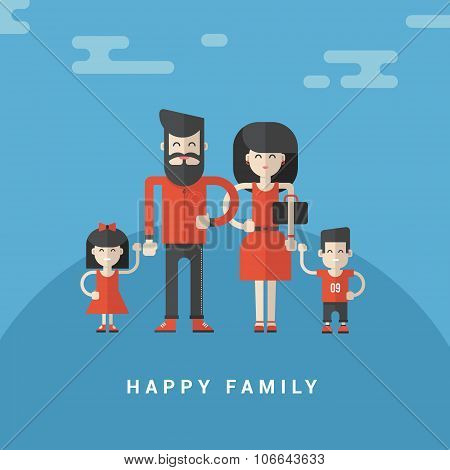 Flat Style Vector Illustration. Happy Family. Parents With Son And Daughter In Red Clothes On Blue B
