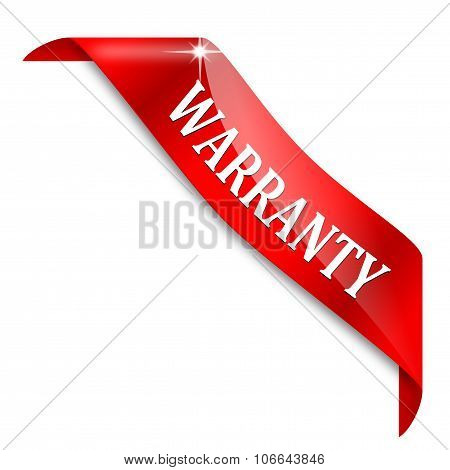 Red Ribbon Around The Corner With The Inscription - Warranty