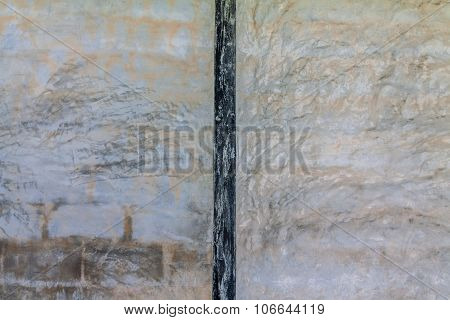 Cement Wall Background With Painted Black Wood At Center