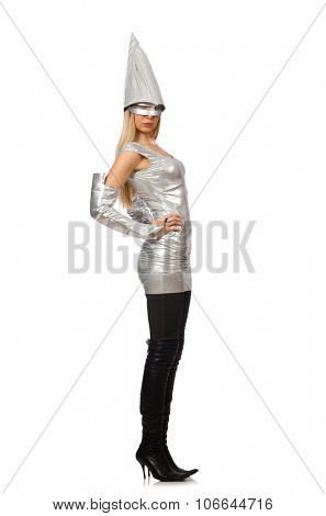 Woman in silver dress isolated on white