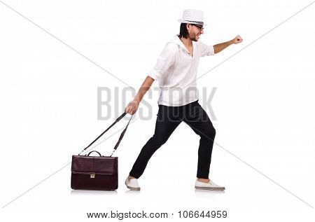 Young man with hat and handbag isolated on white