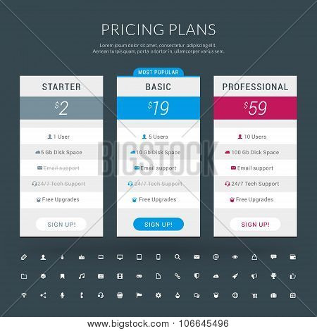 Vector Design Template For Pricing Table With Icon Set In Flat Design Style For Websites And Applica