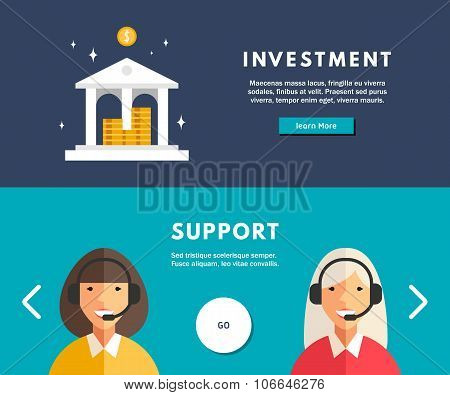 Flat Design Concept For Web Banners. Investment. Technical Support