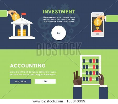 Flat Design Concept For Web Banners. Investment. Accounting