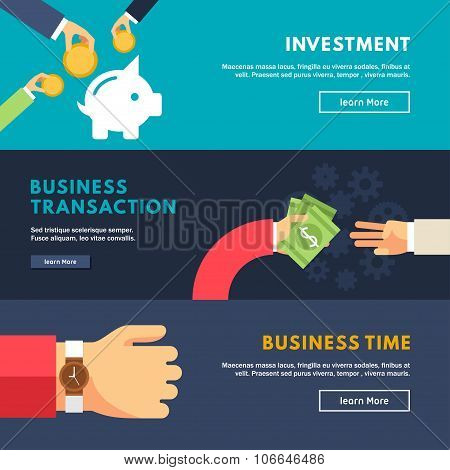Set Of Flat Design Concepts For Web Banners And Promotional Materials. Investment, Business Transati