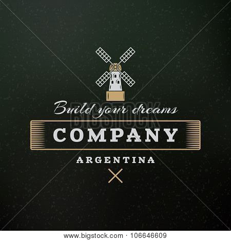 Windmill. Vintage Retro Design Elements For Logotype, Insignia, Badge, Label. Business Sign Template