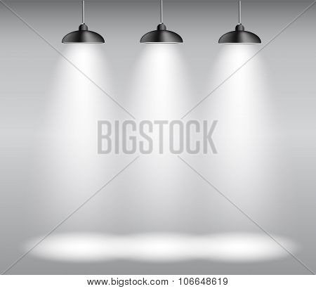 Background with Lighting Lamp. Empty Space for Your Text or Obje