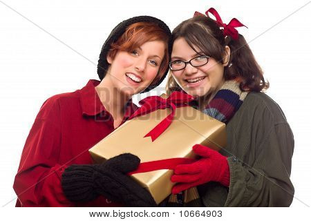Two Pretty Girlfriends Holding A Holiday Gift