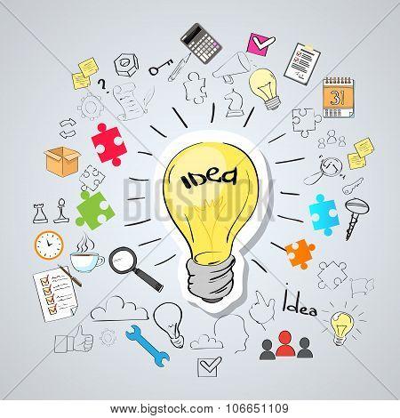 Light Bulb Idea Creative Concept Doodle