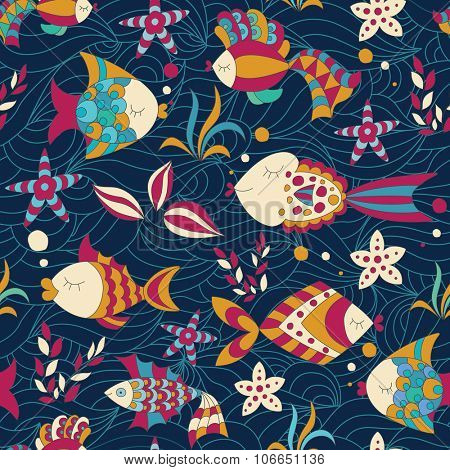 Colorful Seamless Pattern with Fish.
