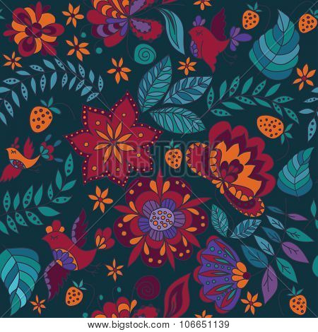 Seamless Floral Pattern with Bird.