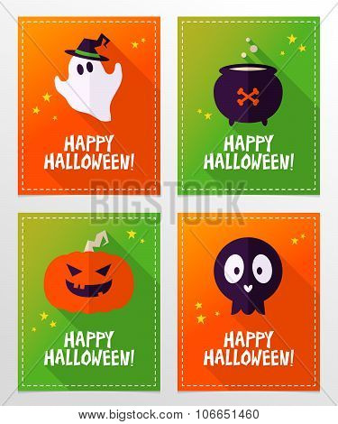 Vector Halloween Greeting Card Designs With Ghost, Skull, Cauldron And Pumpkin