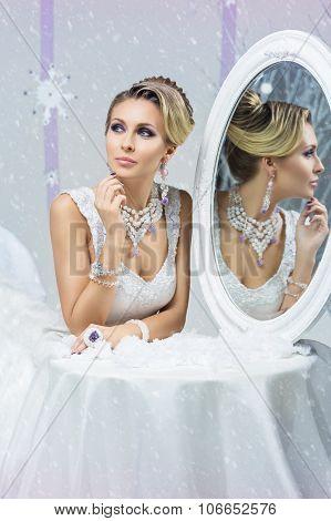 Beautiful blond winter bride