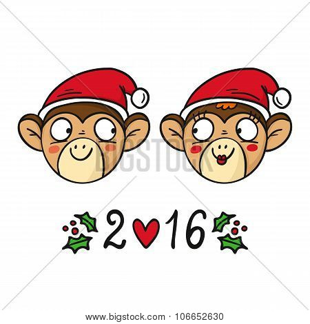 Monkey Couple In Santa's Hats, Chinese New Year 2016 Symbol, Cute Vector Characters Isolated On Whit