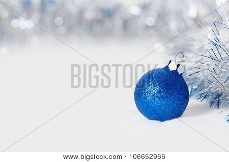 Blue Christmas ball with garland
