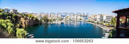 Panorama Of Agios Nikolaos Lake Voulismeni