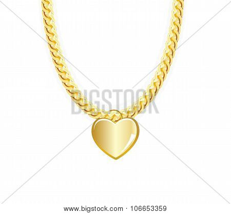 Gold Chain Jewelry Whith Heart. Vector Illustration.