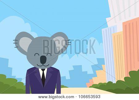 Koala Bear Cartoon Head Businessman Suit Profile Icon Portrait Business