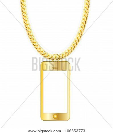 Gold Chain Jewelry whith Gold Mobile Phone. Vector Illustration.