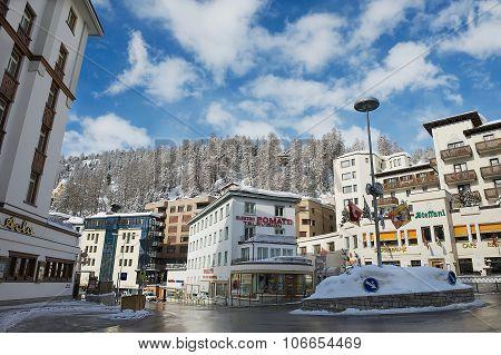 View to the street of St. Moritz, Switzerland.