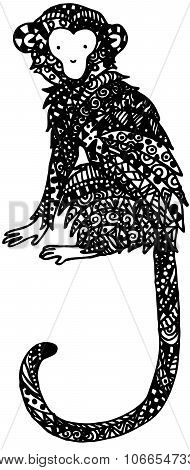 Decorative monkey. Graphic illustration monkey. handmade art illustration monkey.