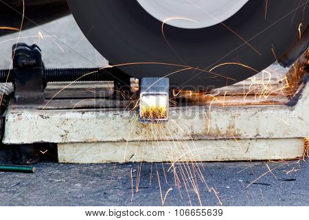 metal with grinder, Sparks while grinding iron