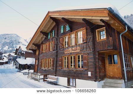 Exterior of the traditional wooden chalet Fontana in Murren, Switzerland.