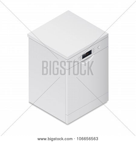 Dishwasher Detailed Isometric Icon