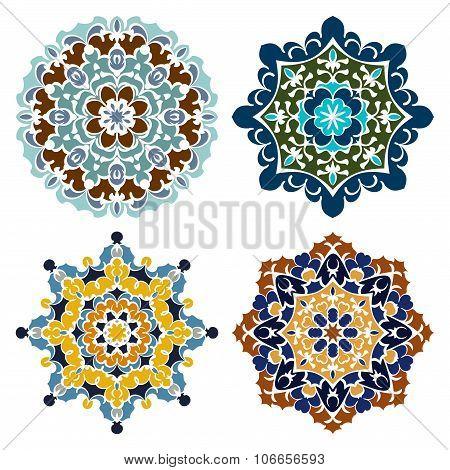 Set Of Four Retro Color Mandalas