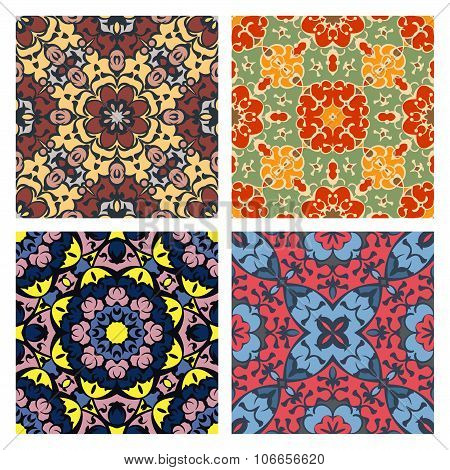 Set Of Four Bright Seamless Eastern Patterns