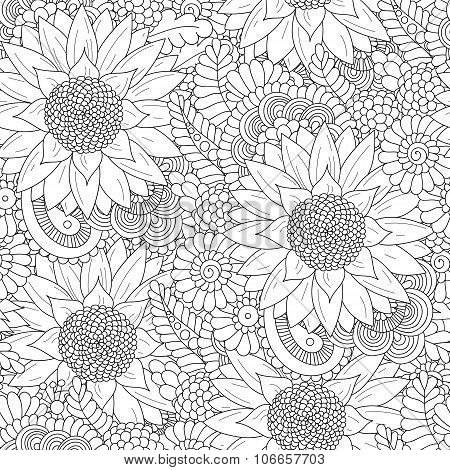 Seamless pattern with black and white sunflowers