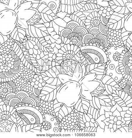 Seamless pattern black and white walnut