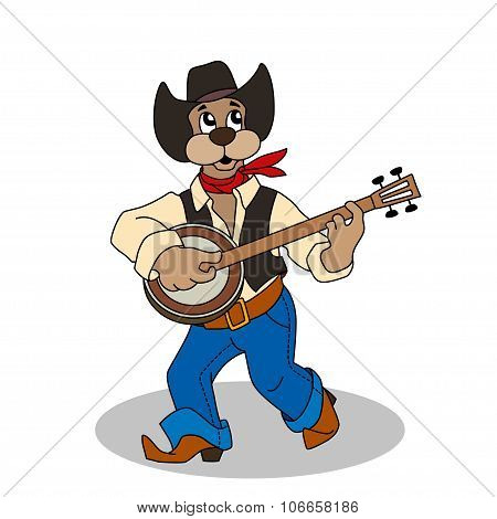 Funny Dog In Blue Jeans And Hat Plays Banjo
