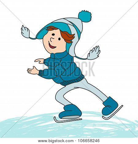 Boy Skating On Ice