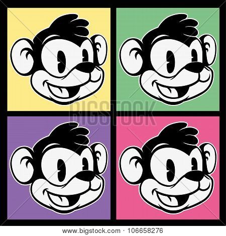 vintage toons. images of retro cartoon character smiley monkey on four different colorful background