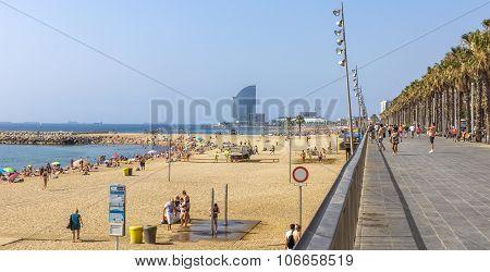 Barceloneta Beach From Promenade