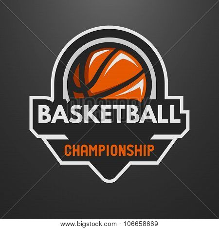 Basketball sports logo, label, emblem.
