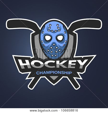 Hockey goalie mask with sticks.