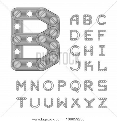 Latin Alphabet Made With Metal Elements Of Constructor. All The Le