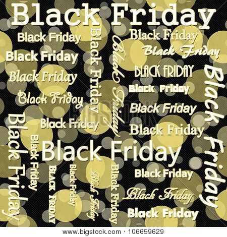 Black Friday Design With Yellow And Black Polka Dot Tile Pattern Repeat Background