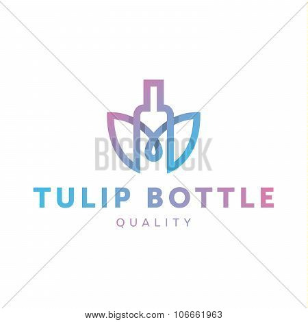 Logo combine tulip flower with bottle style in line outline trend vector illustrations